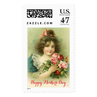 Little Girl with Pink Roses Mother's Day Postage Stamp