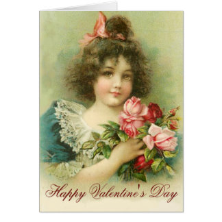 Little Girl with Pink Roses Valentine''s Day Greeting Card