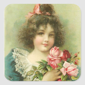Little Girl with Pink Roses Valentine's Day Square Sticker