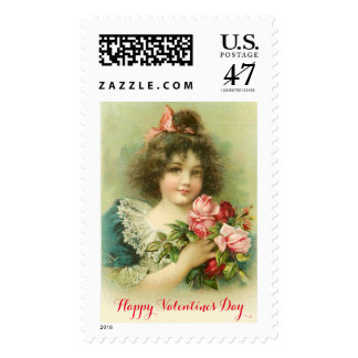 Little Girl with Pink Roses Valentine's Day Stamp