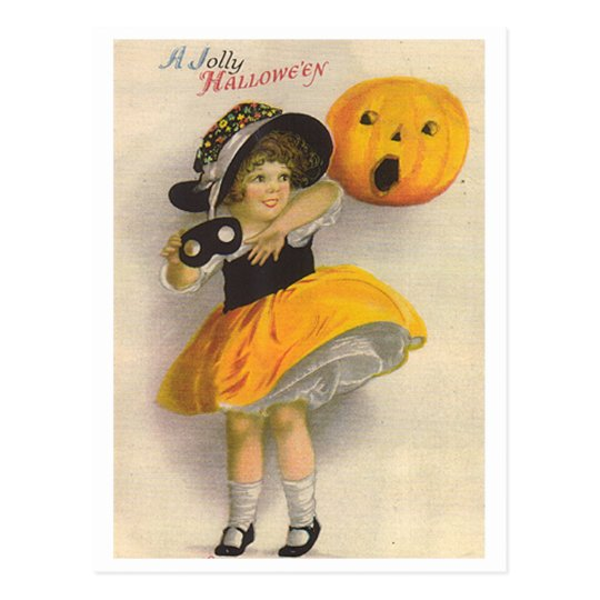 Little Girl with Pumpkin and Mask Postcard
