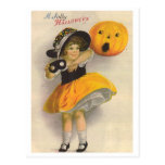 Little Girl with Pumpkin and Mask Postcards