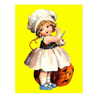 little girl with pumpkin postcard