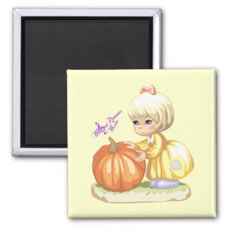 Little Girl with Pumpkin Square Magnet