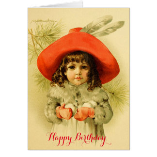 Little Girl with Red Hat Playing Snowball Birthday Card