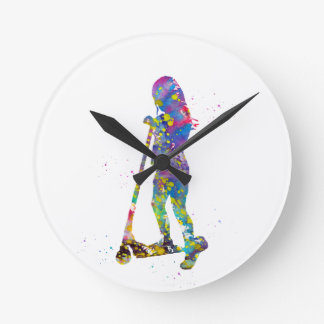 Little girl with scooter round clock