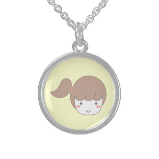 Little Girl with Side Ponytail Round Pendant Necklace