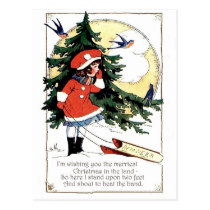 Little girl with sledge, winter joys, Christmas Postcard