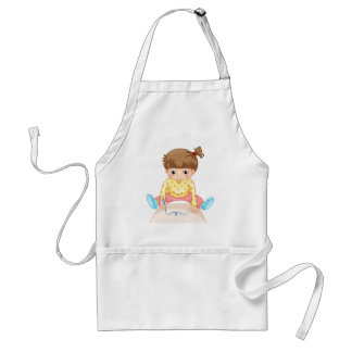 Little girl with speech bubble adult apron