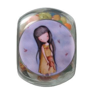 Little Girl with Teddy Bear Jelly Belly Glass Jar