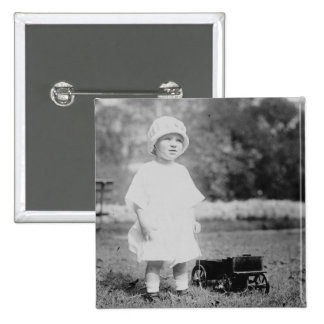 Little Girl with Toy Wagon 2 Inch Square Button