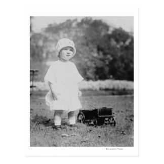 Little Girl with Toy Wagon Postcard