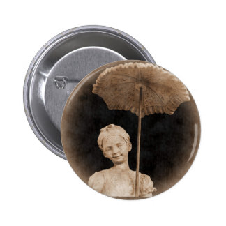 Little Girl with Umbrella Button