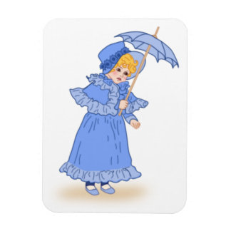 Little girl with umbrella magnet