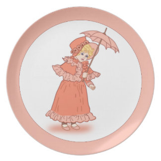 Little girl with umbrella plate