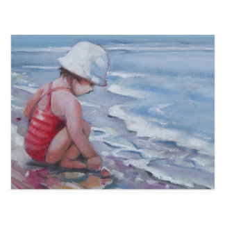 Little girl with white hat at the beach postcard