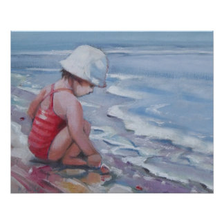 Little girl with white hat at the beach poster