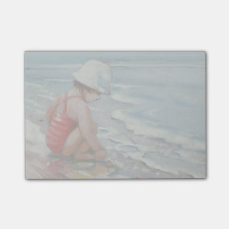 Little girl with white hat at the beach post-it® notes