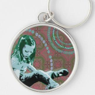 Little Girl Wonderland - Pop Art iPad Case Silver-Colored Round Keychain