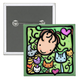 Little Girlie and her kitties 2 Inch Square Button