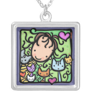 Little Girlie and her kitties Square Pendant Necklace