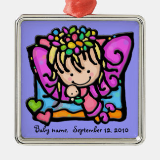 Little Girlie angel fairy with her baby Christmas Ornaments