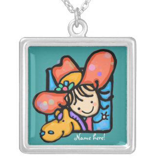 Little Girlie cowgirl! Square Pendant Necklace