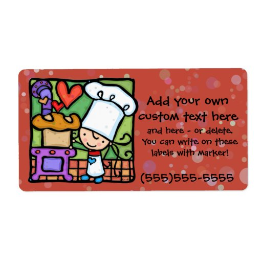 Little Girlie loves to bake bread DK RST Personalized Shipping Labels