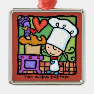 Little Girlie loves to bake bread DK RUST Metal Ornament