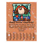 "Little Girlie promotes her housecleaning business 8.5"" X 11"" Flyer"