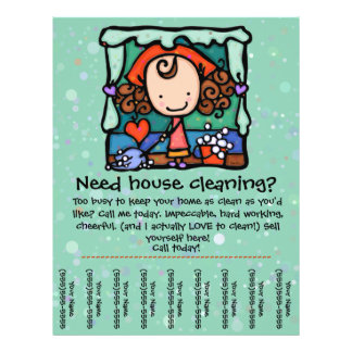 """Little Girlie promotes housecleaning business GRN 8.5"""" X 11"""" Flyer"""