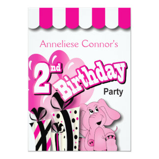 Little Girl's 2nd Birthday Party Card