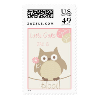 Little Girls Are a Hoot Owl Baby Shower Postage Stamp