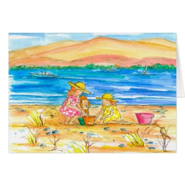 Beach Themed Little Girls At The Beach Thinking of You Sister Card