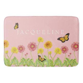 Little Girls Bath Decor Gerbera Daisy Butterfly Bath Mat