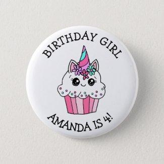 Little Girl's Birthday Girl Unicorn Cupcake Button