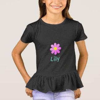 Little Girls'_ Cool-Pink-Flower_Name Template_ T-Shirt