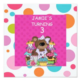 Little Girls CUPCAKE & Bears  Birthday Party Invit Card