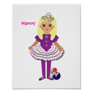 Little Girls Cute Personalized Fairy Princess Poster