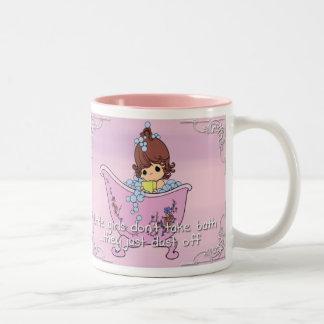Little girls don't take bath Two-Tone coffee mug