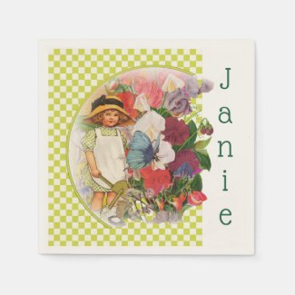 Little Girl's Garden Party Napkin