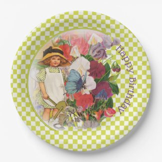 Little Girl's Garden Party Paper Plate