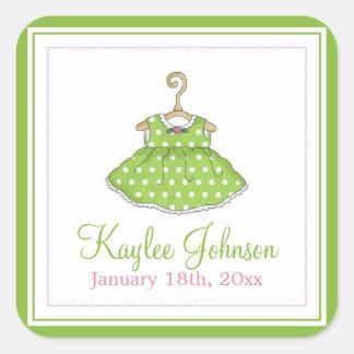 Little Girl's Green Dress Baby Birth Stickers