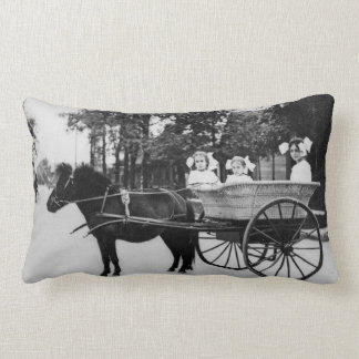 Little Girls in a Cart Pulled by a Little Horse Throw Pillow