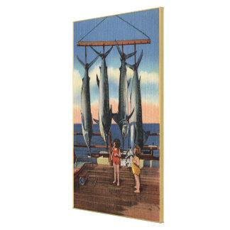 Little Girls Looking at Caught Swordfish Canvas Print