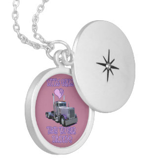 Little Girls Love Their Trucker Dads Locket Necklace