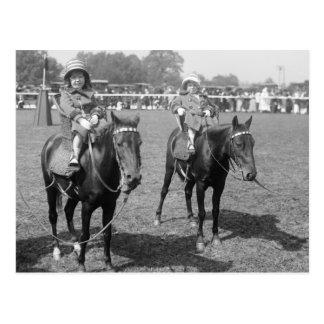 Little Girls on Horseback, early 1900s Postcard