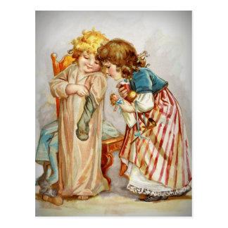 Little Girls Opening Stockings Postcard