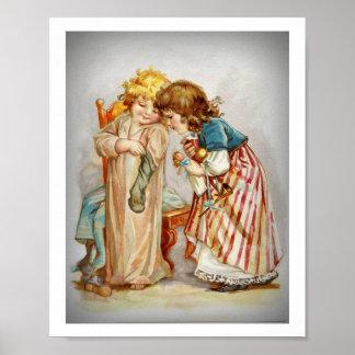Little Girls Opening Stockings Poster