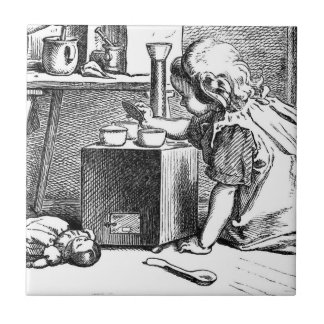 Little girls playing house etching ceramic tile